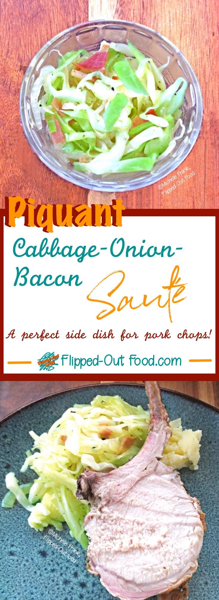 Piquant Cabbage-Bacon-Onion Sauté is great alongside meat—especially pork. This tasty side has just a few healthy ingredients and comes together crazy fast. #sidedish #healthyfood #sauteedcabbage #cabbage
