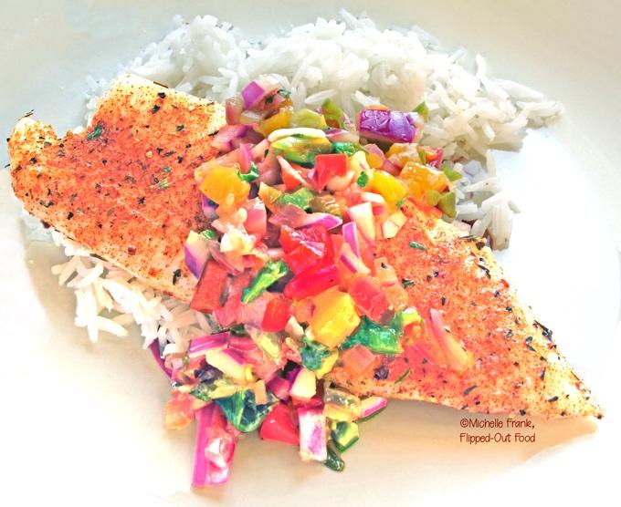 Fiery Mango-Habanero Salsa over a baked tilapia loin, served with rice. #mangohabanerosalsa #salsa #chunkysalsa #salsarecipe #spicyfood #mexicanfood #cincodemayo @FlippedOutFood