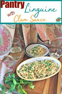 Pantry Linguine in Clam Sauce pinterest collage.