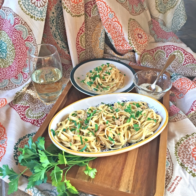 Pantry Linguine in Clam Sauce, possibly the foxiest meal to emerge almost entirely from your pantry. #datenight #romanticfood #pantrymeal #easydinner #italianfood #pasta via @FlippedOutFood