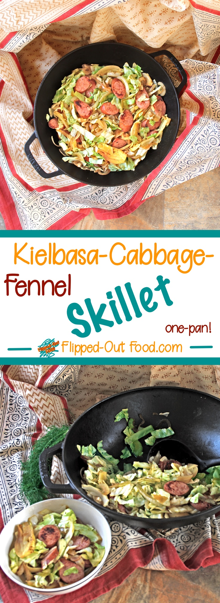 Kielbasa-Cabbage-Fennel Skillet is an easy, healthy meal that's perfect for weeknights. Meal-prep the ingredients in advance for a lightning-fast dinner! This skillet is so loaded up with healthy vegetables that you don't need to serve it with rice—you won't miss the carbs! #onepanmeal #skilletdinner #onepot #onepan #cabbage #kielbasa #fennel #onion #lowcarb #mealprep
