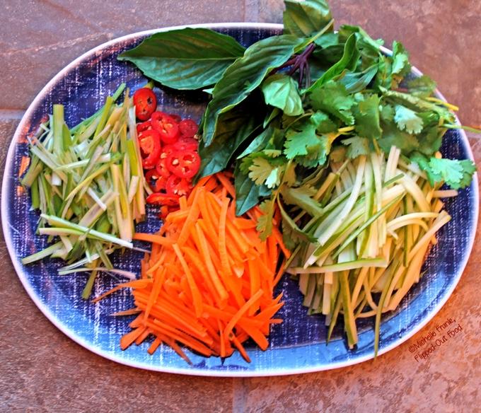Bun Bo Xao: Vietnamese Lemongrass Beef Noodle Bowls: prepped vegetables and herbs. #vietnamesefood #bun #bunboxao #steak #lemongrass #ricenoodles @FlippedOutFood