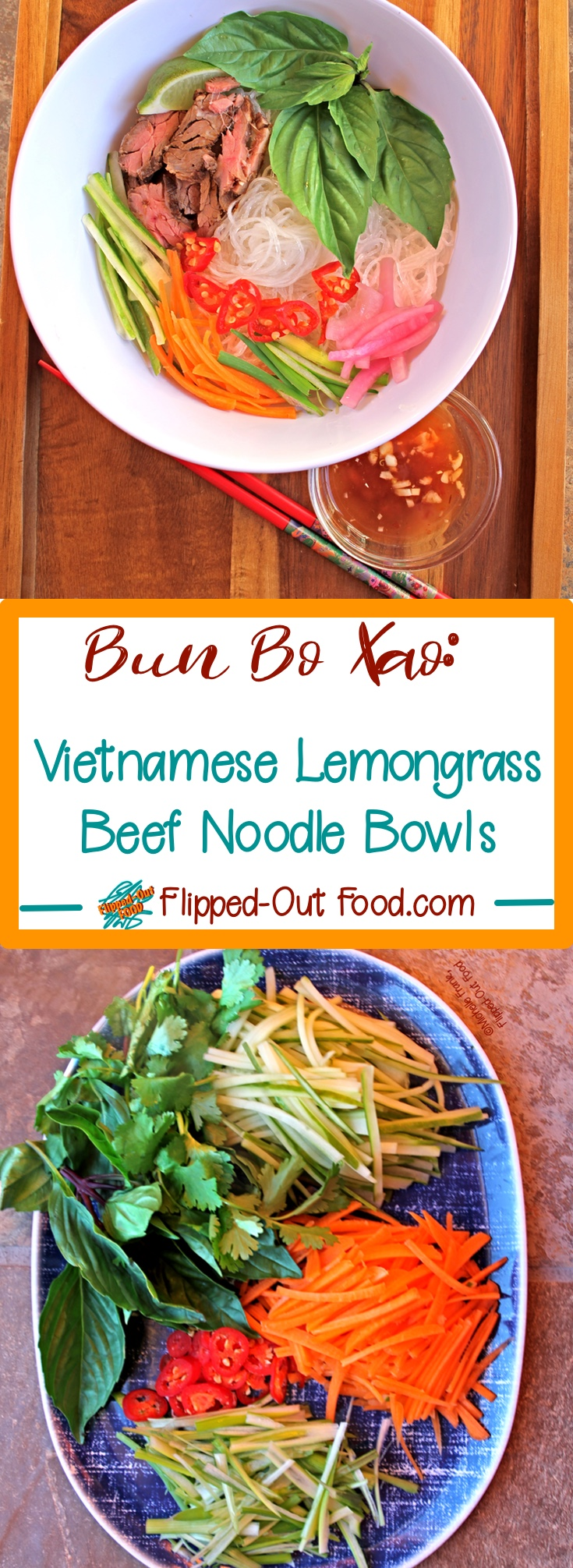Vietnamese Lemongrass Beef Noodle Bowls, also known asBun Bo Xao, are a perfect meal for hot summer days. The noodles are eaten at room temperature with fresh vegetables, herbs, and a splash (or glug) of nuoc cham. The steak can be added hot from the skillet, chilled, or at room temperature. #bunbowl #vietnamesefood #bunboxao #healthyfood #healthyeating #coldnoodlesalad