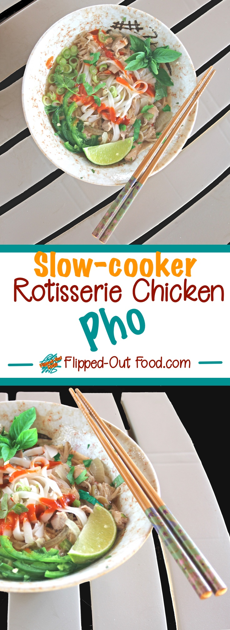 Rotisserie Chicken Pho Ga makes the most of your chicken with a slow simmer in broth, spices, and aromatics to extract amazing flavor from the roasted chicken bones. #pho #vietnamesefood #phoga #chickensoup #slowcooker #crockpot #healthyfood #healthyeating