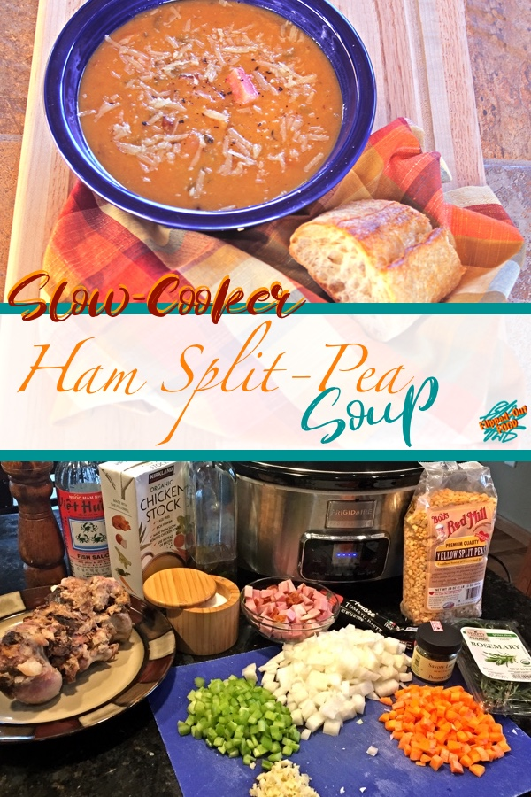 Crockpot Ham Split-Pea Soup is an easy weeknight meal with a bit of quick prep. Leftovers freeze well for an even easier weeknight meal down the road. #slowcooker #splitpeasoup #flippedoutfood #healthyeating