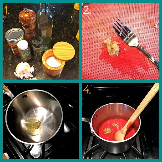Easy Homemade Pizza Sauce: steps for preparing. 1. ingredients; 2. mashing the garlic; 3. sautéing the garlic in olive oil; 4. simmering the remaining ingredients. #pizzasauce #homemadepizza #italianfood #flippedoutfood #kidfriendly via @FlippedOutFood