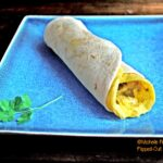 Green Chile Frittata Wraps: this photo shows a side view on a square, blue plate.
