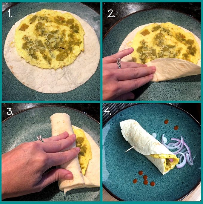 Green Chile Frittata Wraps: assembling the wrap. 1) the correct orientation of frittata and tortilla; 2) fold up the bottom (including the frittata in the fold); 3) roll from one side until all rolled up; 4) the finished wrap. These green chile frittata wraps are 10 minutes, start to finish. A great breakfast on the go! #frittata #breakfast #breakfastwrap #healthyeating #healthylifestyle #hatchgreenchiles #flippedoutfood via @FlippedOutFood