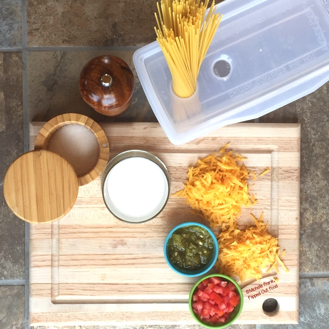 Dorm-Room Microwave Queso Spaghetti: the cast of ingredients. #dormroomcooking #collegecooking #microwavecooking #microwavepasta #comfortfood #collegefood #dormroomfood #microwavemeal #flippedoutfood via @FlippedOutFood