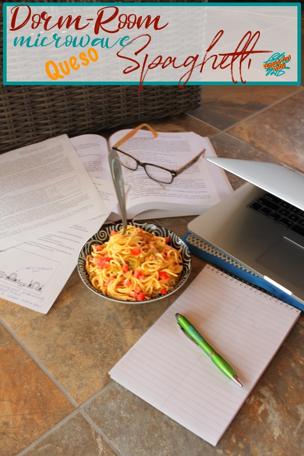 Dorm-Room Microwave Queso Spaghetti involves just a few ingredients and is done in under 15 minutes. Creamy, spicy, and delicious—and perfect for dorm rooms, office cubicles, or anywhere that kitchen space is at a premium. Plus, gift ideas for the dorm-room foodie! #dormroomcooking #flippedoutfood #collegecooking #pasta #foodwithoutborders #comfortfood #microwavecooking