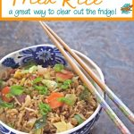 Pin collage for leftover vegetable fried rice, showing a blue bowl full of the rice with a pair of chopsticks on top.