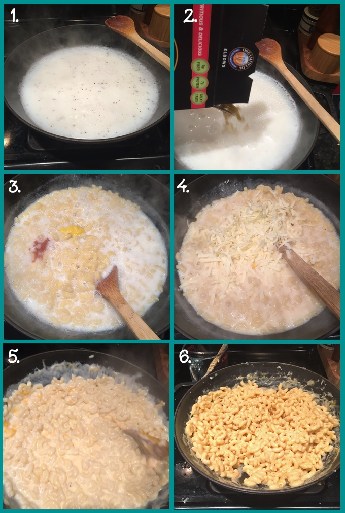Creamy One-Pot Stovetop Macaroni and Cheese preparation collage. 1. Bring the water and milk to a boil; add salt and pepper. 2. Add the dried macaroni; simmer, uncovered for 10 minutes (or according to package directions), until al dente. 3. Mix in mustard and hot sauce. 4. Stir in the American cheese. 5 Remove pot from the heat and mix in the cheddar cheese; lid the pot and let sit for 3 minutes. 6. Stir well and serve.