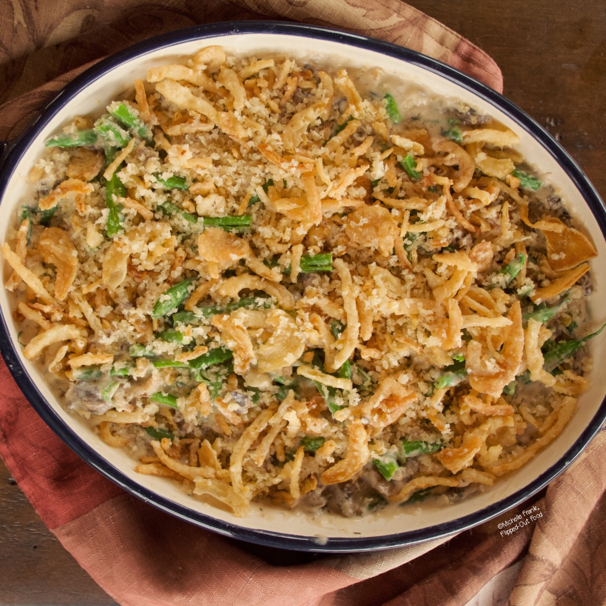 Make-ahead green bean casserole in baking dish