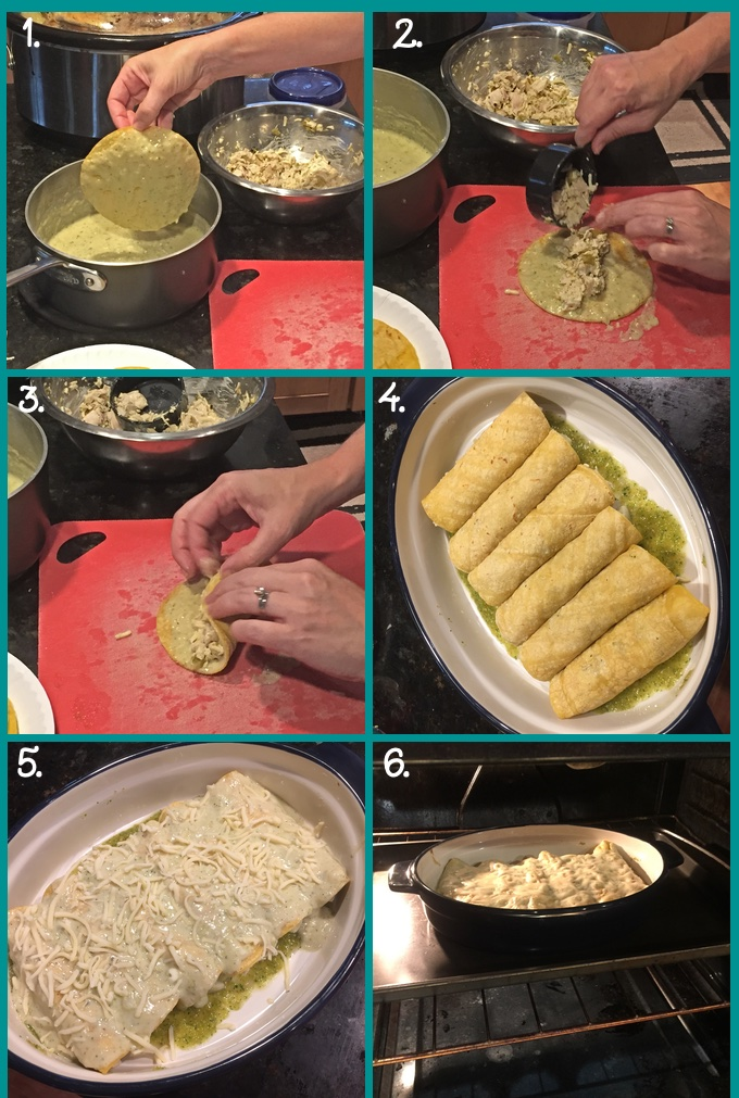 Assembling Creamy Green Chile Turkey Enchiladas: 1. saucing the corn tortillas; 2. adding filling to the sauced side of the tortilla; 3. rolling up the enchilada; 4. a baking casserole with rolled enchiladas; 5. smothering the enchiladas with sauce and cheese; 6. baking the enchiladas.