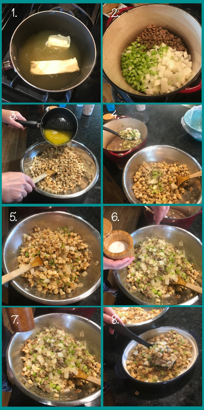 How to make Easy Sausage Stuffing: 1. Melt butter into stock in a saucepan over medium heat. 2. Brown the sausage and saute the vegetables. 3. Pour the bread cubes into a mixing bowl and add the butter-stock mixture. 4–5. Add the sausage and vegetables to the bowl. 6. Add salt and 7. pepper. 8. Mix and add to a baking dish. Cover with foil and either refrigerate or bake at 375º F for 45 minutes.