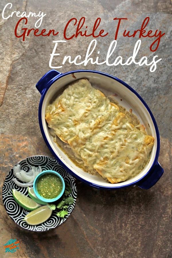 Creamy Green Chile Turkey Enchiladas are a delicious way to use up your roast turkey or chicken leftovers. Meal-prep the vegetables and garnishes. The sauce can be made in advance. Assembling the enchiladas is a fun activity to do with kids, or with your