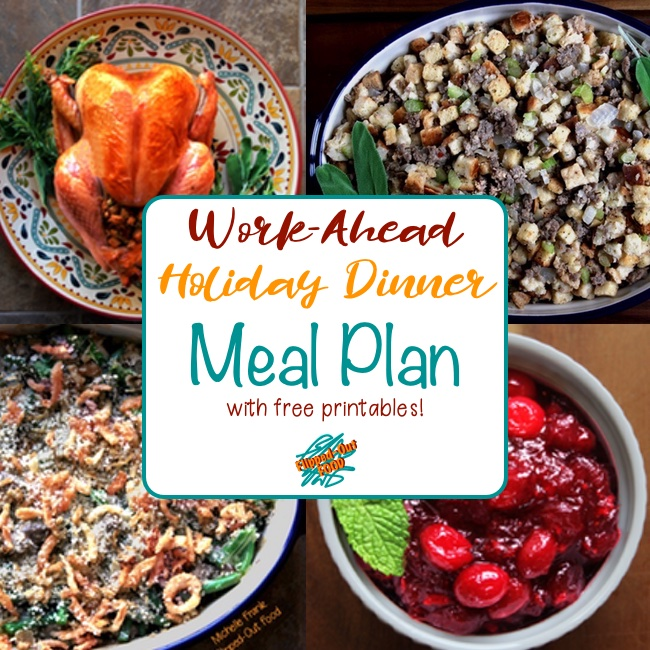 A complete guide to pulling off a stress-free holiday dinner. With printable shopping list and game plan. Showing (clockwise from top lef) Ultimate Classic Roast Turkey, Easy Sausage Stuffing, Orange-Ginger-Spice Cranberry Sauce, and Make-Ahead Green Bean Casserole.