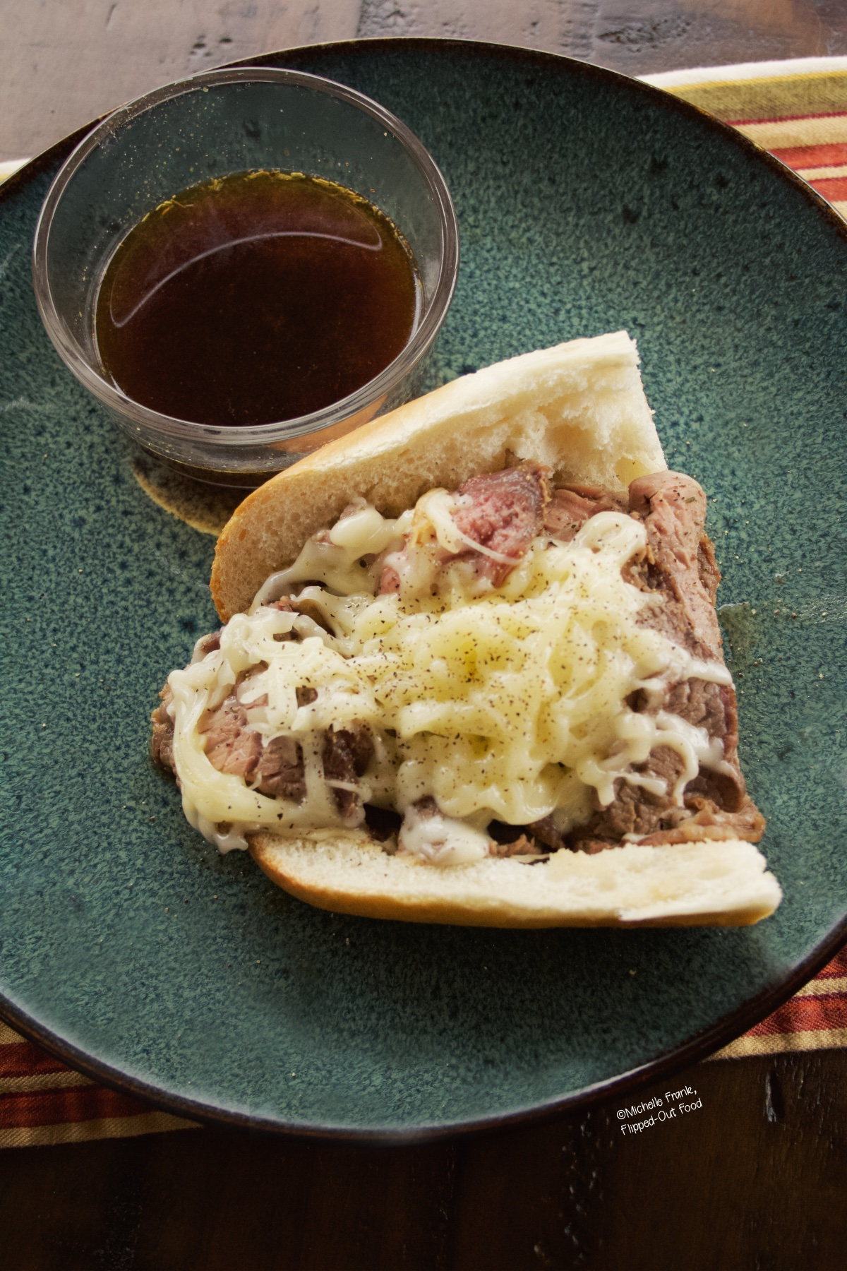 Overhead image of prime rib sandwich which details how the prime rib still had a medium rare doneness, even after reheating it.