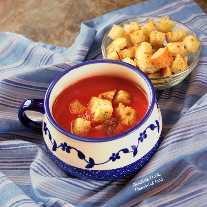 Vegan Pantry Tomato Soup with Homemade Croutons