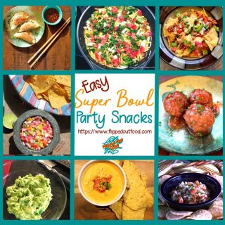 A roundup of my favorite easy Super Bowl party snacks, showing (clockwise from upper left): Pork-Shrimp Wontons with Soy-Ginger Dipping Sauce, Phil's Taco Dip, Perfect Loaded Nachos, Sweet and Zingy Asian Meatballs, Pico de Gallo, Feisty Chile con Queso Dip, Cutting-Board Guacamole, and Fiery Mango-Habanero Salsa.