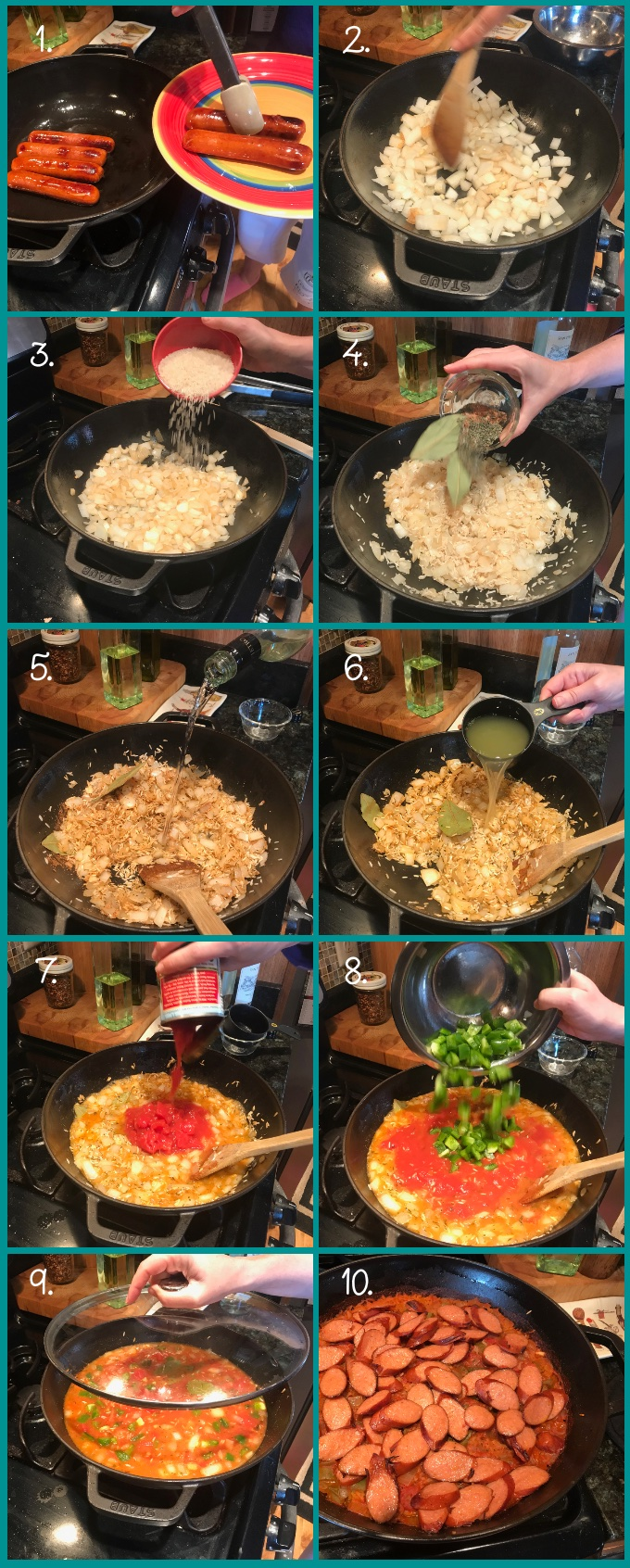 How to make Cajun Sausage-Rice Skillet: (1) Brown the sausages and remove to a plate. (2) Saute the onions until translucent, then (3) add the rice; saute for 2 minutes. (4) Add the herbs and spices; saute for an additional minute. (5) Add the wine over high heat; reduce for 1 minute. (6) Add the chicken broth, followed by the (7) tomatoes and tomato sauce, and finally (8) the bell peppers. (9) Mix, lid, and bake in a 375º oven, undisturbed, for 30 minutes. (9) Remove lid and add sausage; continue baking 10 minutes (uncovered), or until rice is tender.