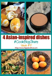 4 Asian-Inspired Dishes and #CookBlogShare week #17. The 4 Asian-Inspired Dishes are: 1. Filipino Cheese Bread Rolls from The Not So Creative Cook, 2. All-Purpose Sambal Dipping Sauce from Simple Gluten-Free Kitchen, 3. Udon Noodles, Beef & Shiitake Mushrooms from Easy Peasy Lemon Squeezy, and 4. Soy-Miso Marinated Ramen Eggs from yours truly at Flipped-Out Food.