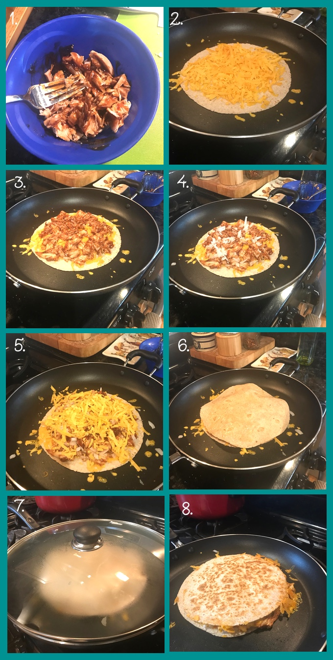 BBQ Chicken Quesadillas preparation collage. 1. Mix the chicken and barbecue sauce. 2. Place a layer of cheese on the bottom tortilla (or on one half of the tortilla if you're using only one). 3. Place the chicken and sauce mix on top of the cheese. 4. Sprinkle on finely diced onion. 5. Add another layer of cheese. 6. Top with a second tortilla (or, if you're using only one tortilla, fold the top half over the filling). 7. Lid the skillet and let the quesadilla cook for 2 minutes, or until the bottom is lightly golden-brown. 8. Flip the quesadilla and lid the skillet to brown the other side, another 2–3 minutes.