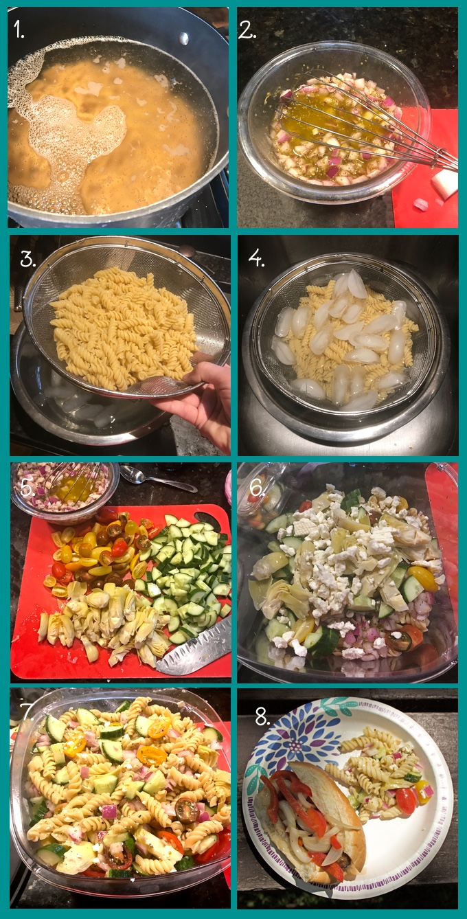 Steps for making easy Greek Pasta Salad. 1. Cook the pasta according to package instructions. 2. Mix together the vinaigrette and add the onion and garlic to marinate. 3. Set up an ice bath in a large bowl that can accomodate your colander. 4. Rinse the pasta with cool water and submerge the colander in the ice bath. 5. Add more ice on top of the pasta. 6. While the pasta cools, continue prepping your vegetables. 6. Drain the pasta thoroughly. Mix up the salad in batches: first add about half of the pasta to a large, plastic container with a tight-fitting lid. Add half of the vinaigrette and vegetables and mix well. 7. Add all remaining ingredients and mix well. Lid the container and shake. Refrigerate until party time (at least 4 hours and up to 3 days). 8. Enjoy with your favorite cookout or potluck foods.