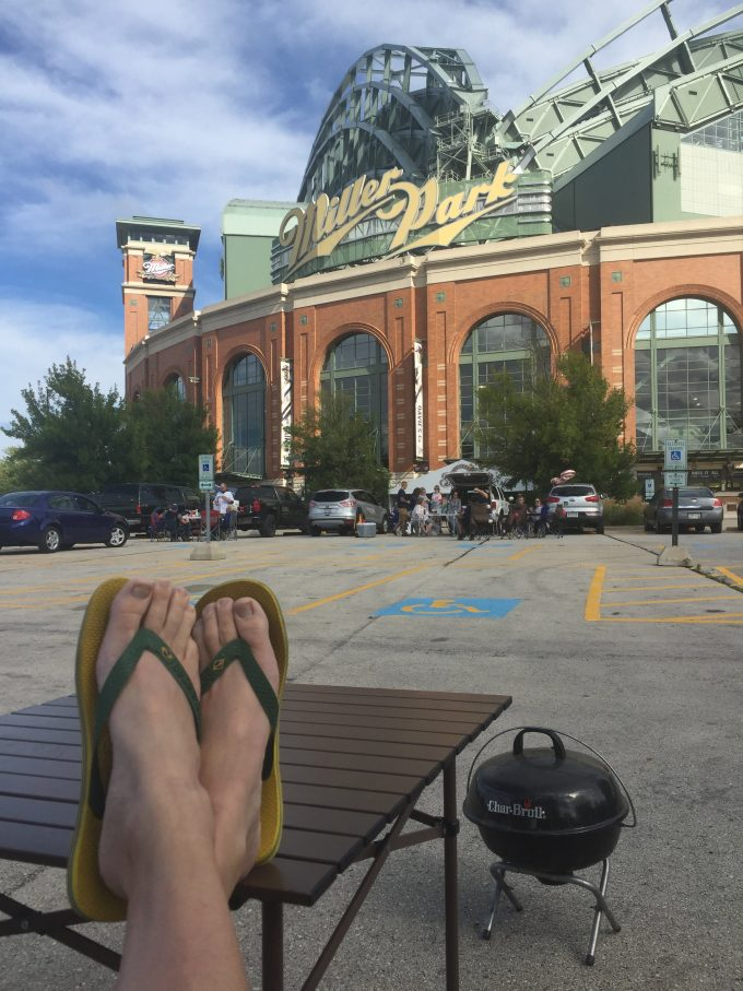 Grilling out at a recent tailgate party before a baseball game at Miller Park in Milwaukee, WI.
