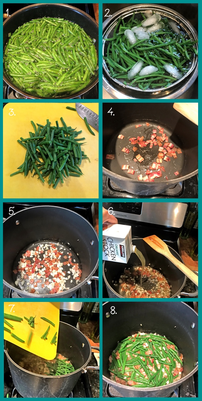 Preparing Green Beans with Bacon and Onions: 1. boil the beans for 6–7 minutes, or until crisp tender. 2. Drain the beans and place the colander into a prepared ice bath. 3. Dry the beans and chop into bite-size pieces (or leave them whole if you prefer). 4. Add the bacon to a pot or skillet over medium-high heat. 5. Add the onions. Sauté until the bacon is crispy and has rendered its fat and the onions are translucent. 6. Add the chicken broth, salt, and pepper. 7. Add the beans. 8. Simmer for 3 minutes. Enjoy!