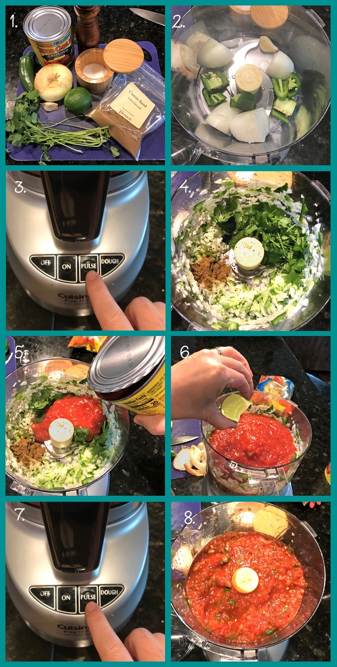 Preparing Restaurant-Style Tomato Salsa. 1. The ingredients: jalapeño, sweet onion, a 28 oz can of crushed or diced tomatoes, coarse salt and freshly ground black pepper, ground cumin, lime, cilantro (coriander), and garlic. 2. Add a garlic clove and chunks of onion and jalapeño to the food processor. 3. Close and pulse 3 times to coarsely chop. 4. Add the cilantro, cumin, salt, and pepper. 5. Add the canned tomatoes (if you're using diced, add the juice too). 6. Squeeze about 2 tbsp of lime juice into the food processor. 7. Close and pulse 3 more times, or until you're happy with the consistency. 8. Check the seasoning and adjust as needed.