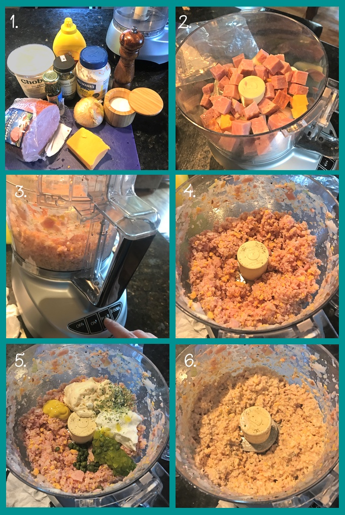 Making Tangy Deviled Ham & Cheese Spread: 1. The ingredients: ham, fat-free Greek yogurt, capers, mixed herbs, yellow mustard, mayonnaise, salt and pepper, sweet onion, and cheddar cheese. (Not shown: sweet pickle relish.) 2. Add cubes of onion, cheese, and ham to a food processor fitted with the S-blade. 3. Pulse 2–3 times, or until coarsely chopped (4). 5. Add the mayonnaise, yogurt, mustard, mixed herbs, capers, relish, salt, and pepper. Pulse until combined (6).