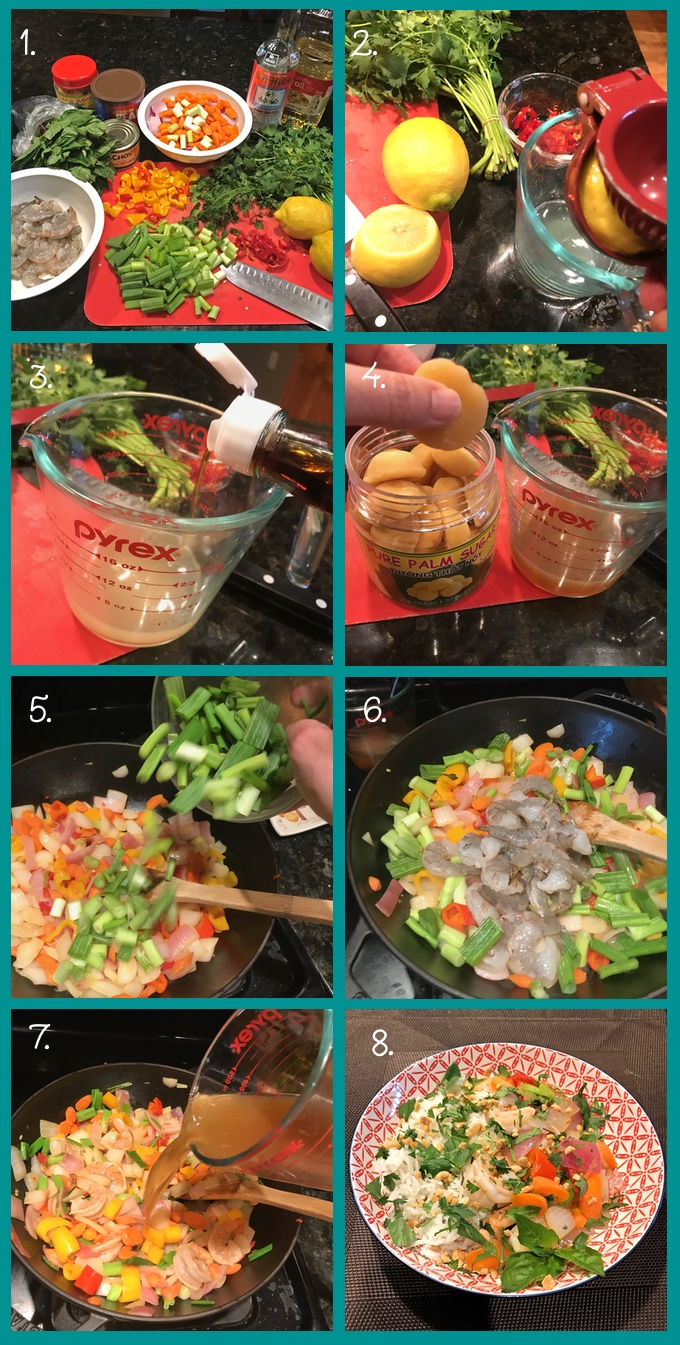 "Shrimp Thai Basil Stir-Fry preparation steps. 1. The ingredients. Clockwise from left: medium shrimp, deveined and cleaned; a bunch of Thai basil; jar of palm sugar; can of unsalted peanuts; can of sliced water chestnuts; a prep bowl with red onion cut into chunks, sliced carrots, and the white part of a bunch of scallions; fish sauce; peanut oil; a bunch of cilantro; 2 lemons; sliced Fresno chiles; scallion greens, cut into 1"" segments; sliced sweet mini peppers. 2. Squeeze the juice of 2 lemons into a measuring cup. 3. Add fish sauce. 4. Crush 2 tbsp. of palm sugar and add to the sauce. 5. Add peanut oil to a wok over high heat. Add the red onions, carrots, and scallion whites. Stir-fry for 2 minutes. Add Fresno chiles, mini peppers, and the scallion greens; continue to stir-fry for 2 minutes. 6. Add the shrimp; stir-fry until pink on the outside and no longer translucent in the middle. 7. Add the sauce; bring almost to a boil and then turn off heat. 8. Serve with jasmine or Basmati rice. Garnish with cilantro, torn Thai basil, and roasted peanuts."