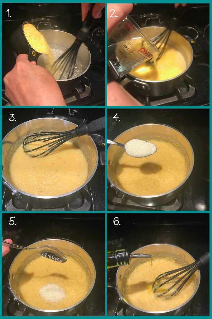 To prepare the polenta, 1. bring 2 cups water to a boil and reduce heat. Whisk in 1 cup polenta corn grits. 2. When completely combined, whisk in 1 cup of cold water. 3. Add salt and pepper; reduce heat to low and simmer, stirring occasionally. 4. After ~25 minutes, when polenta is soft, add 1 tbsp Romano cheese and 2 tsp extra virgin olive oil. Garnish with chopped parsley and serve.