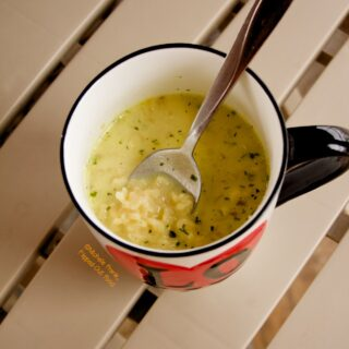 Panrty Creamy Chicken Ramen Soup in an oversized mug.