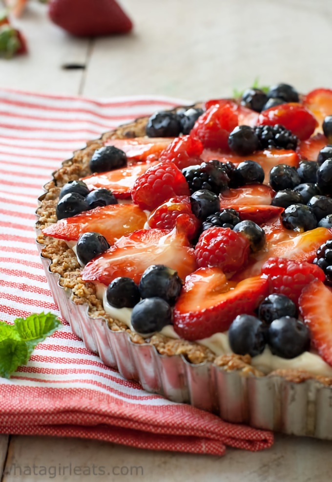 Grain-Free Red, White and Blueberry Tart, from What a Girl Eats