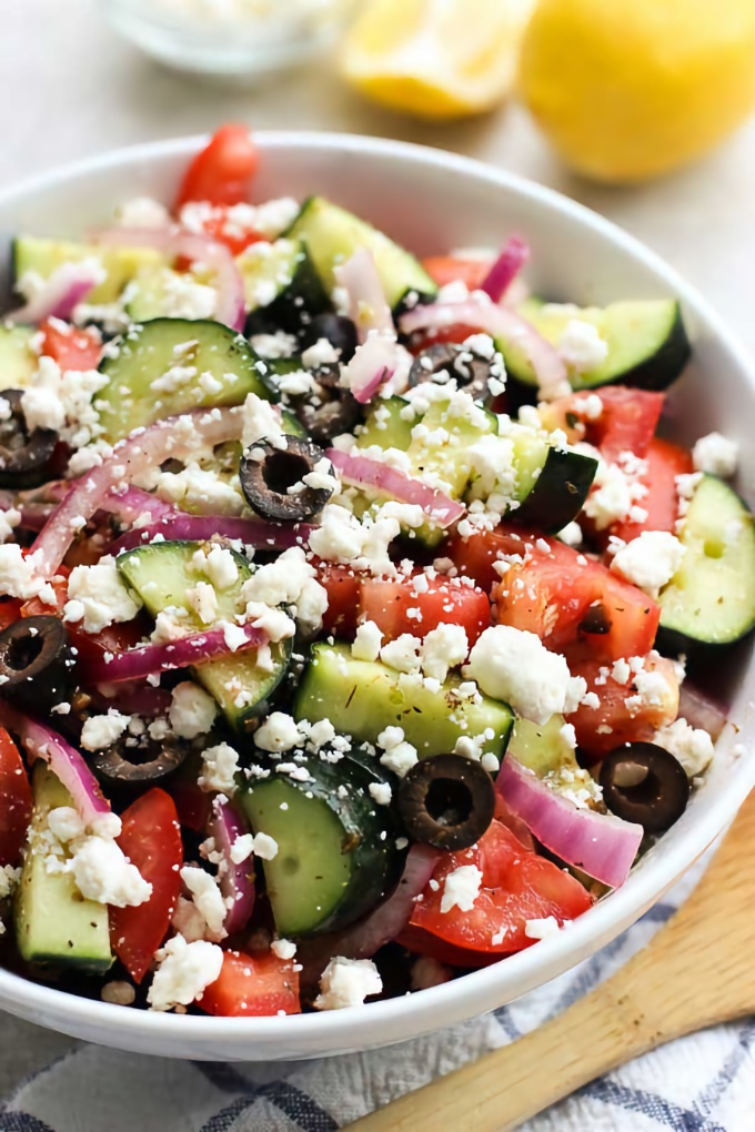 Greek Cucumber Salad, by Joyous Apron