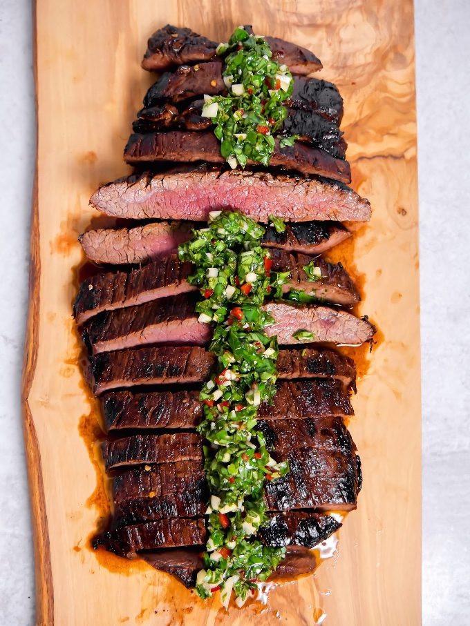 Virtual Memorial Day Recipe Roundup, entrees: Marinated Flank Steak with Chimichurri, by Girl with the Iron Cast