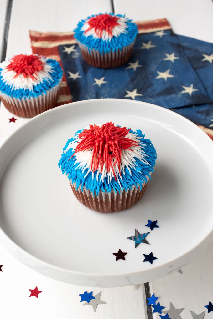 Red Velvet Patriotic Firework Cupcakes, by Culinary Ginger.