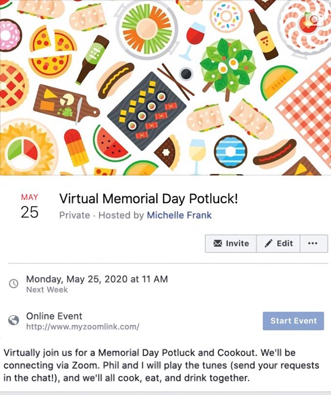 Virtual Memorial Day Potluck and Recipe Roundup invite