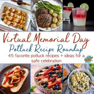 Virtual Memorial Day Recipe Roundup Collage, showing Grilled Shrimp Kebabs by All That's Jas, Grilled Portobello Mushroom Steaks,by Vegan Huggs, Rancharoni Macaroni Salad, by Ramshackle Pantry, Grain-Free Red, White and Blueberry Tart, from What a Girl Eats, and Italian Sausage Sandwiches with Pepper Onion Foil Packs, by Flipped-Out Food.