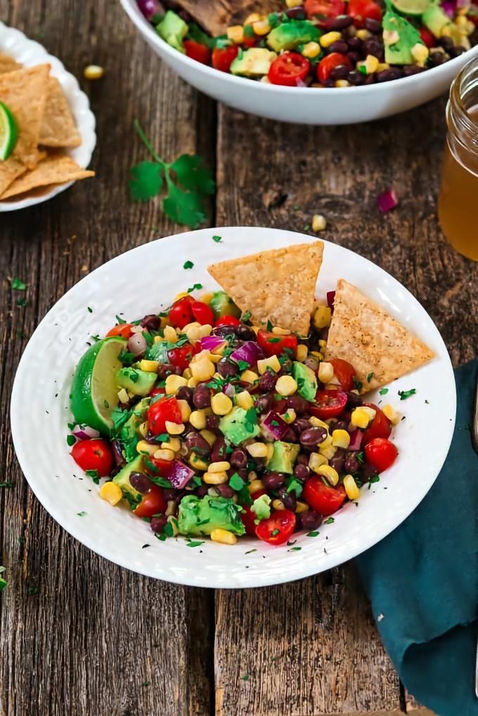 Avocado Black Bean Corn Salad, by Vegan Huggs