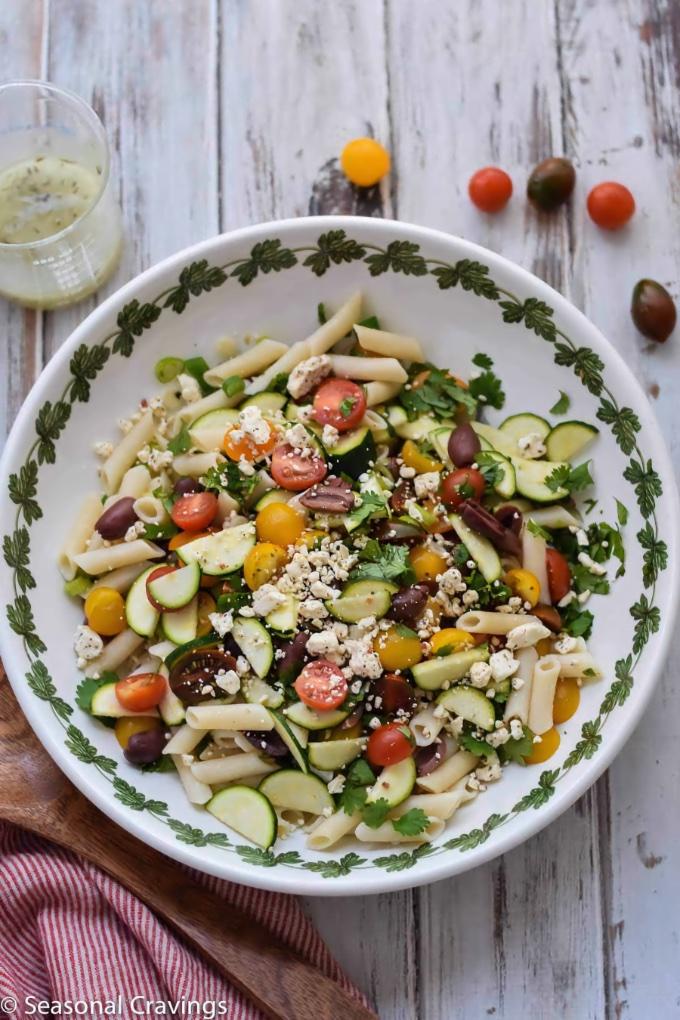 Greek Pasta Salad, by Seasonal Cravings