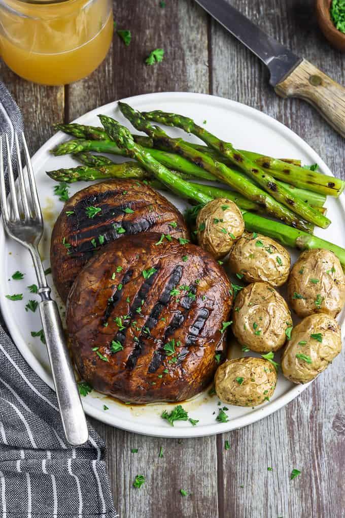 Grilled Portobello Mushroom Steaks, by Vegan Huggs.