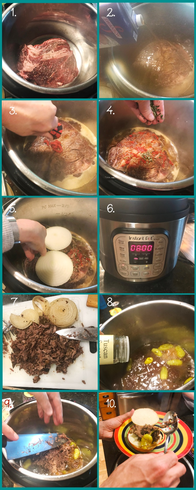 "Steps for preparing Instant Pot Roast Beef Sandwiches. 1. Set the Instant Pot to high saute; add 1 tbsp canola oil. Brown the chuck roast well on both sides. 2. Add broth, Maggi seasoning sauce, and seasoned rice vinegar. 3. Smear tomato paste over the top of the roast. 4. Sprinkle with rosemary (add the stem too!). 5. Add onion slices on top. 6. Lid the Instant Pot and set to slow-cook for 8 hours (lowest setting). 7. After 8 hours, remove the solids with a skimmer. Discard rosemary stem. Remove the fat from the roast and discard. Pull and chop the roast. Reserve the onions for serving, if you'd like. 8. Cancel the slow-cook function and press ""Saute"": set to high until the liquid comes to a simmer. (You can degrease the liquid if you like). Add the drained pepperoncini peppers (you can stem and seed them). Also add your favorite Italian seasoning mix. When the liquid reaches a simmer, reduce the saute to medium (using the - button). Add the meat back to the pot and simmer 10 minutes. 10. Assemble sandwiches and serve."