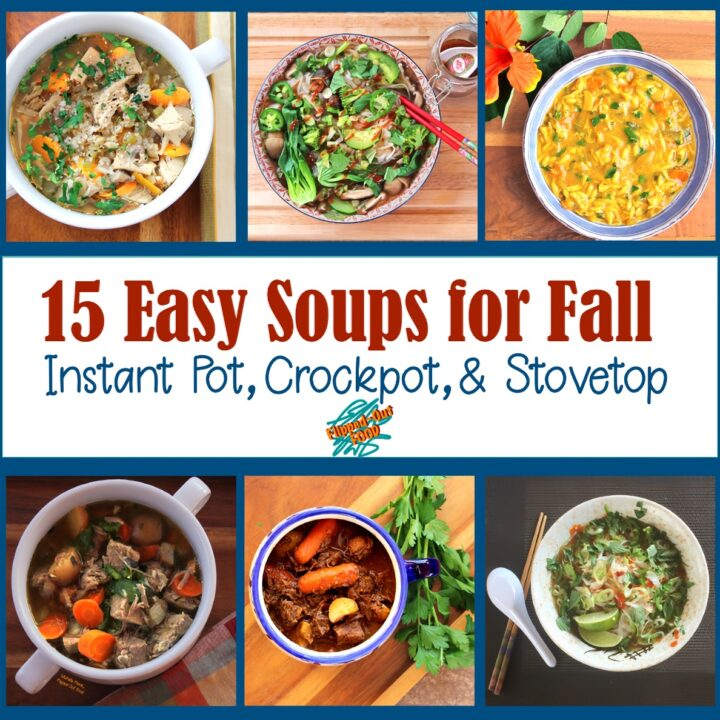 Easy Soups for Fall: a collage of soups featuring (clockwise from upper left): Soul-Warming Barley Vegetable Soup, Instant-Pot Vegetable Pho, Lemon-Turmeric Chicken Orzo Soup, Pressure-Cooker Pho Ga, Make-Ahead Irish Guinness Stew, and Caldillo (Green Chile Pork Stew).