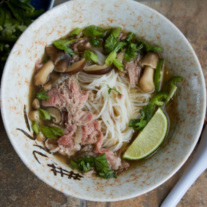 A bowl of Real Deal Beef Pho Noodle Soup.