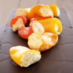 Side view of Sweet Peppers Stuffed with Goat Cheese