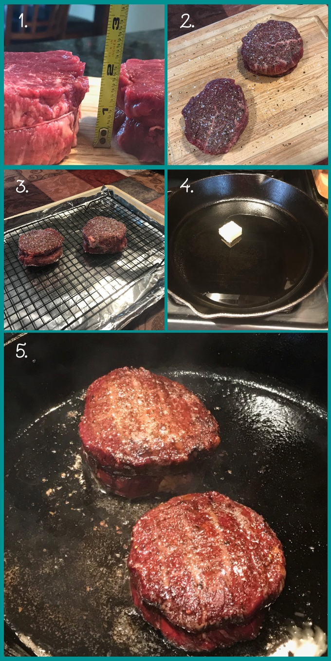 How to make Reverse-Sear Filet MIgnon Steak: 1. trim whole beef tenderloin and slice steaks to your desired thickness; tie with butcher's string. 2. Season liberally with salt and pepper. 3. Place steaks on a rack set into a foil-wrapped baking sheet. Roast in a preheated oven at 250º F until an instant-read thermometer registers 2–3º from your final desired internal temperature. 4. Remove the steaks and rest. Meanwhile, heat a cast-iron skillet over medium-high heat. When the skillet is very hot, add butter and oil. 5. Add the steaks and sear quickly until deeply browned on each side.