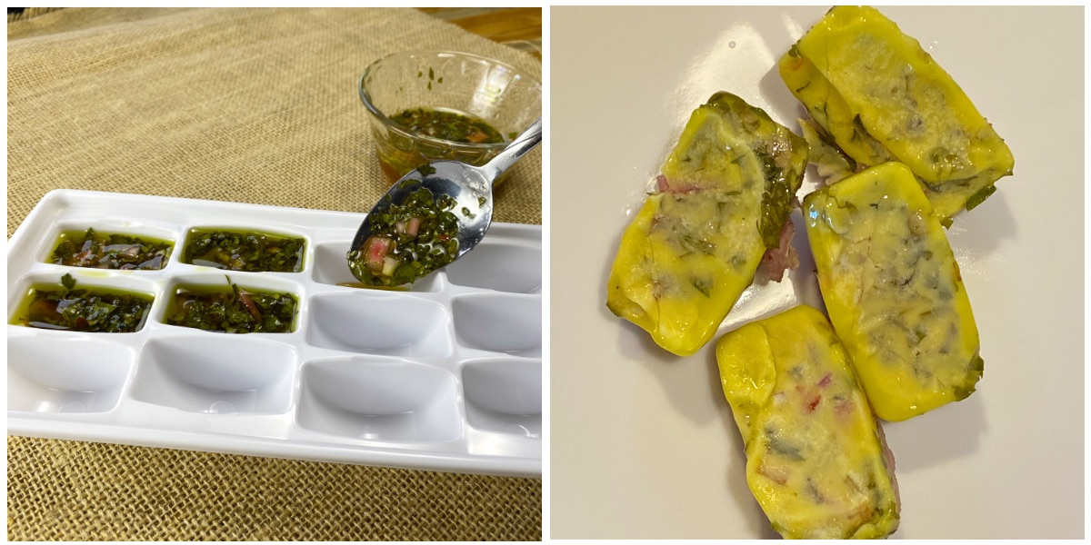 Freezing chimichurri sauce: left, adding the sauce to an ice cube tray. Right, the frozen cubes of chimichurri, ready to individually wrap in plastic and replace in the freezer.